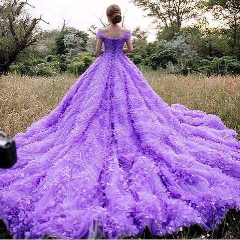 Wedding Dresses 2017 Real Gorgeous Purple Ball Gown Luxury Scoop Off The Shoulder Beaded Crystal Flowers