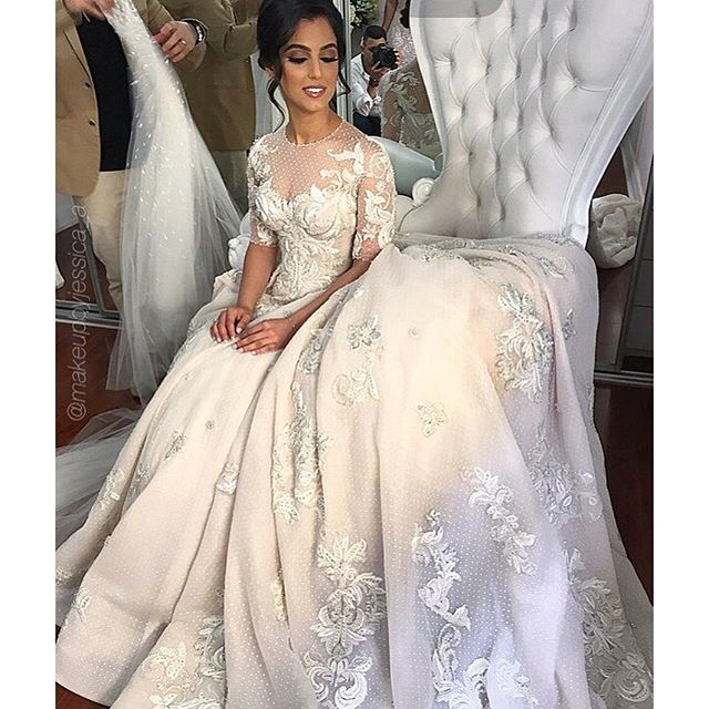 Cheap wedding dresses 2017,Lace Wedding Ball Gown,Middle Sleeve Prom Dress,Fashion Bridal Dress,Sexy Party Dress,Custom Made Evening Dress