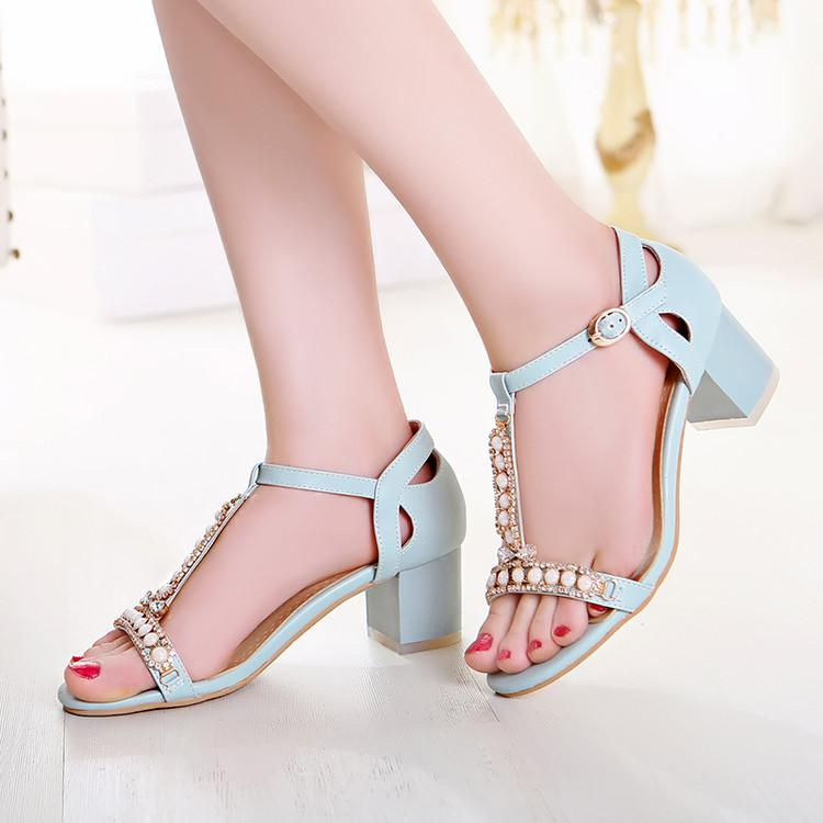 Women's Pure Color Thick Heel Band Beads Pumps