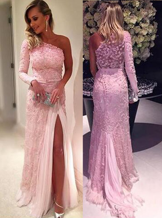 Cheap Prom Dresses 2017stylish One Shoulder Long Sleeve Sweep Train