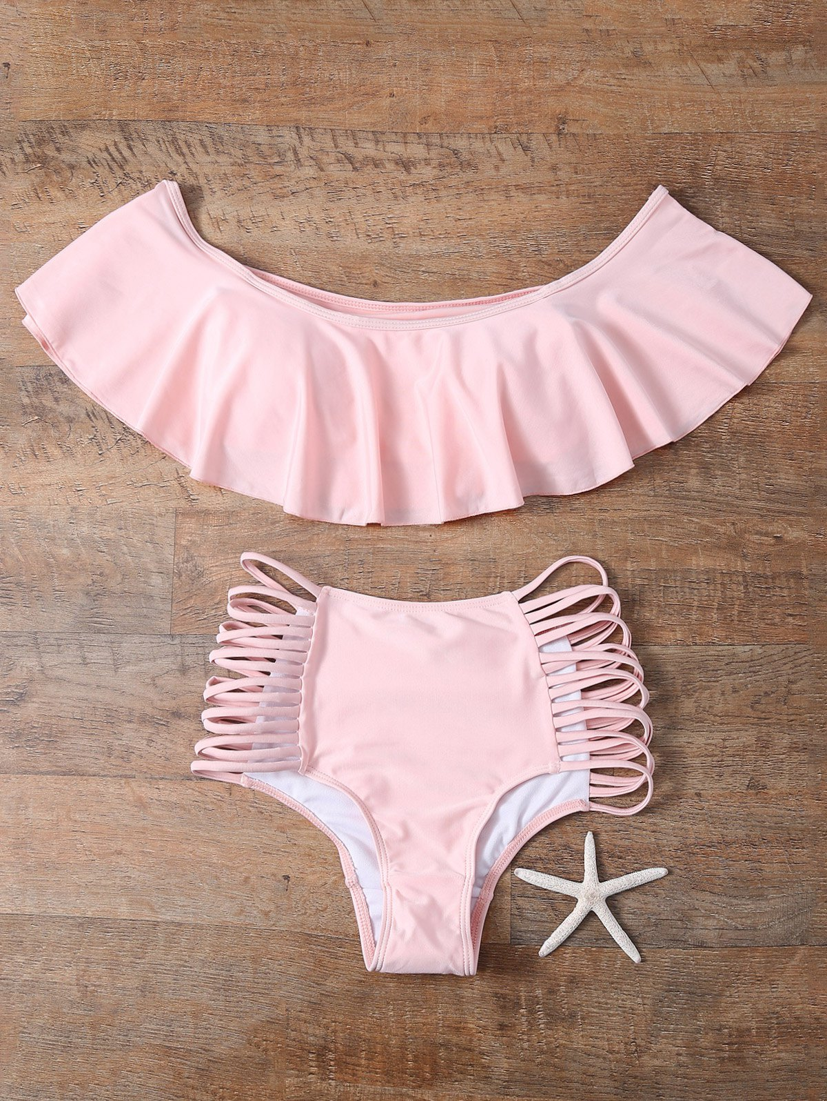 e99a5e7b04cd4 Off The Shoulder Cutout Flounced Bikini Set - Pink S on Luulla