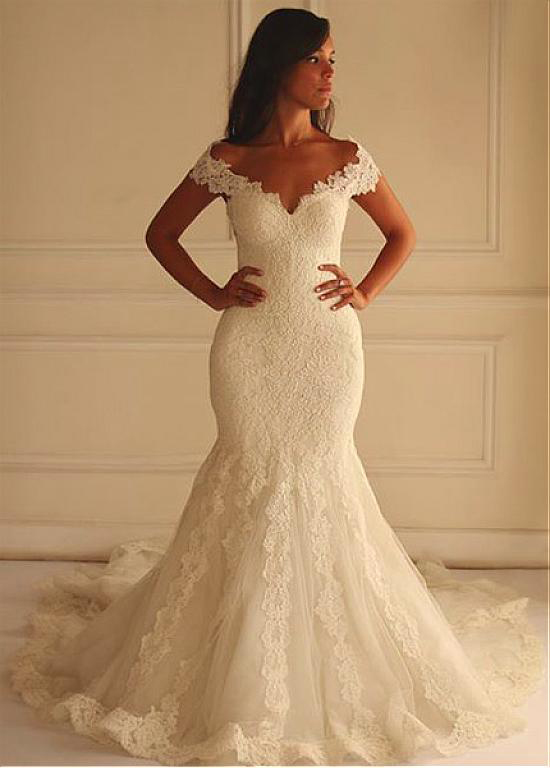 Lace Off-The-Shoulder Plunge V Floor Length Mermaid Wedding Dress Featuring Train