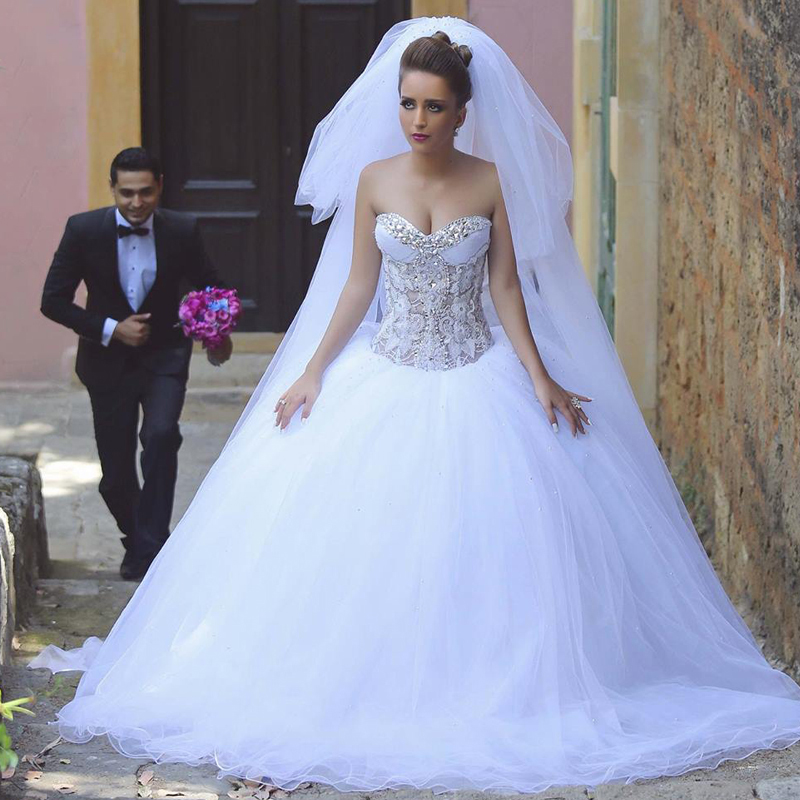 Cheap wedding dresses 2017,Luxurious Bling Wedding Dresses 2017 Corset Bodice Sheer Bridal Ball Gowns Crystal Beads Rhinestones Tulle Sweetheart Wedding Dress
