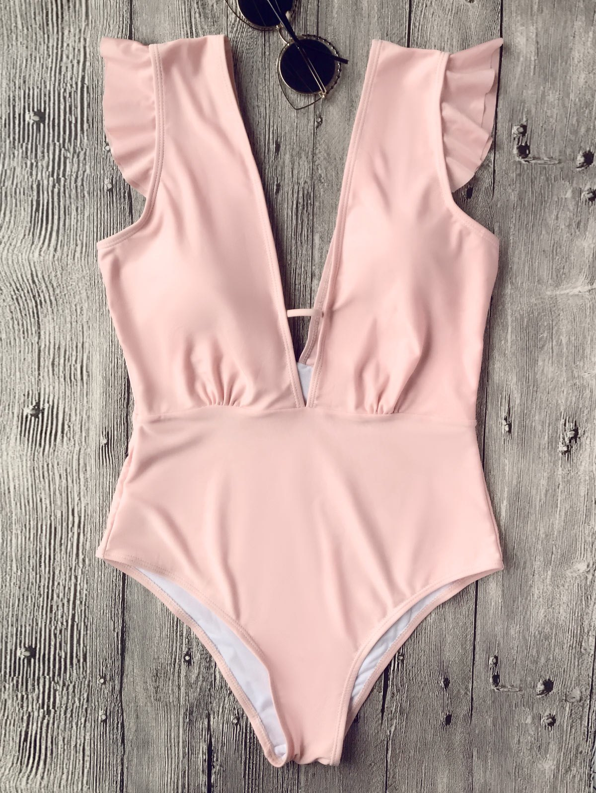 Ruffles Plunging Neck One Piece Swimsuit - Pink M