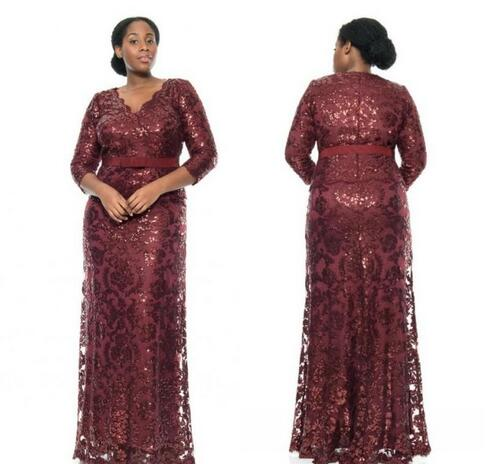 Cheap Prom Dresses 2017burgundy Sequin Lace Plus Size Special