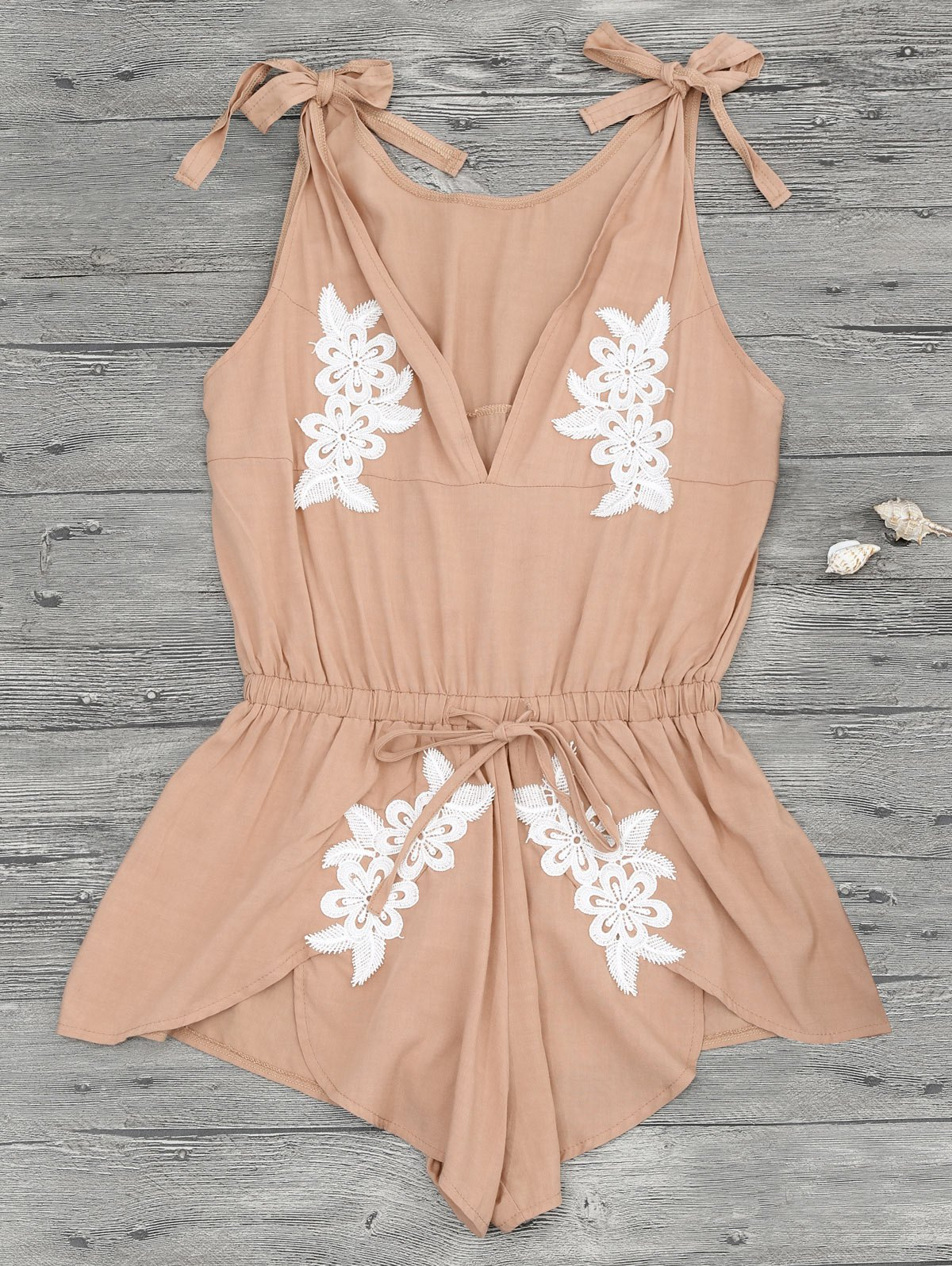 Floral Applique Drawstring Cover Up Romper - Apricot S