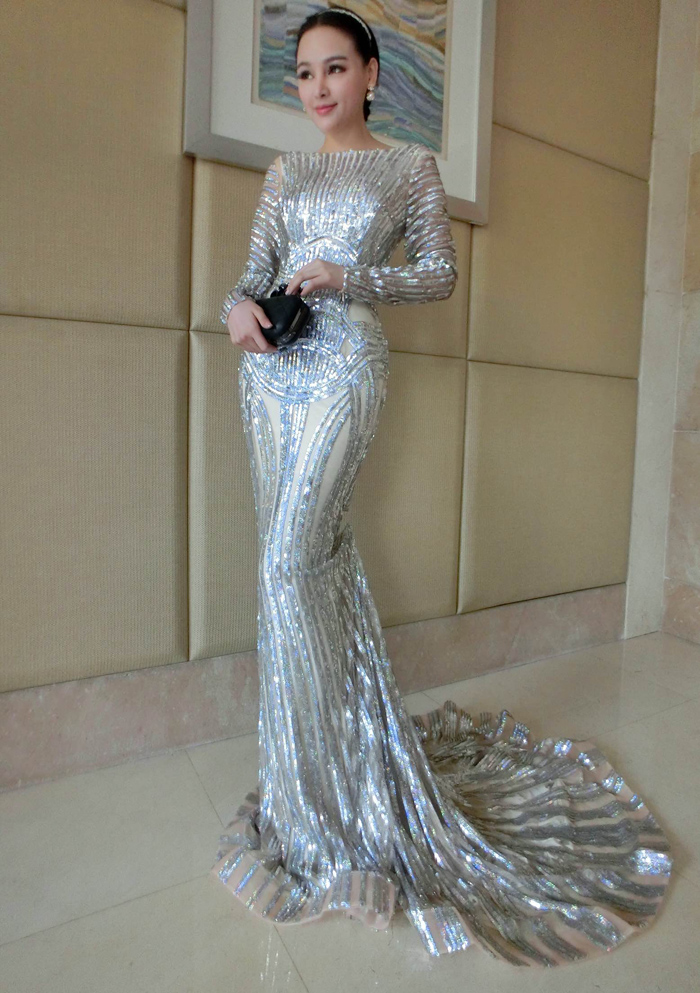 f22b07d46337 Luxury Silver Mermaid Prom Dresses Long Sleeve Sheer Neck Sequins Court  Train Pageant Gowns Women Evening