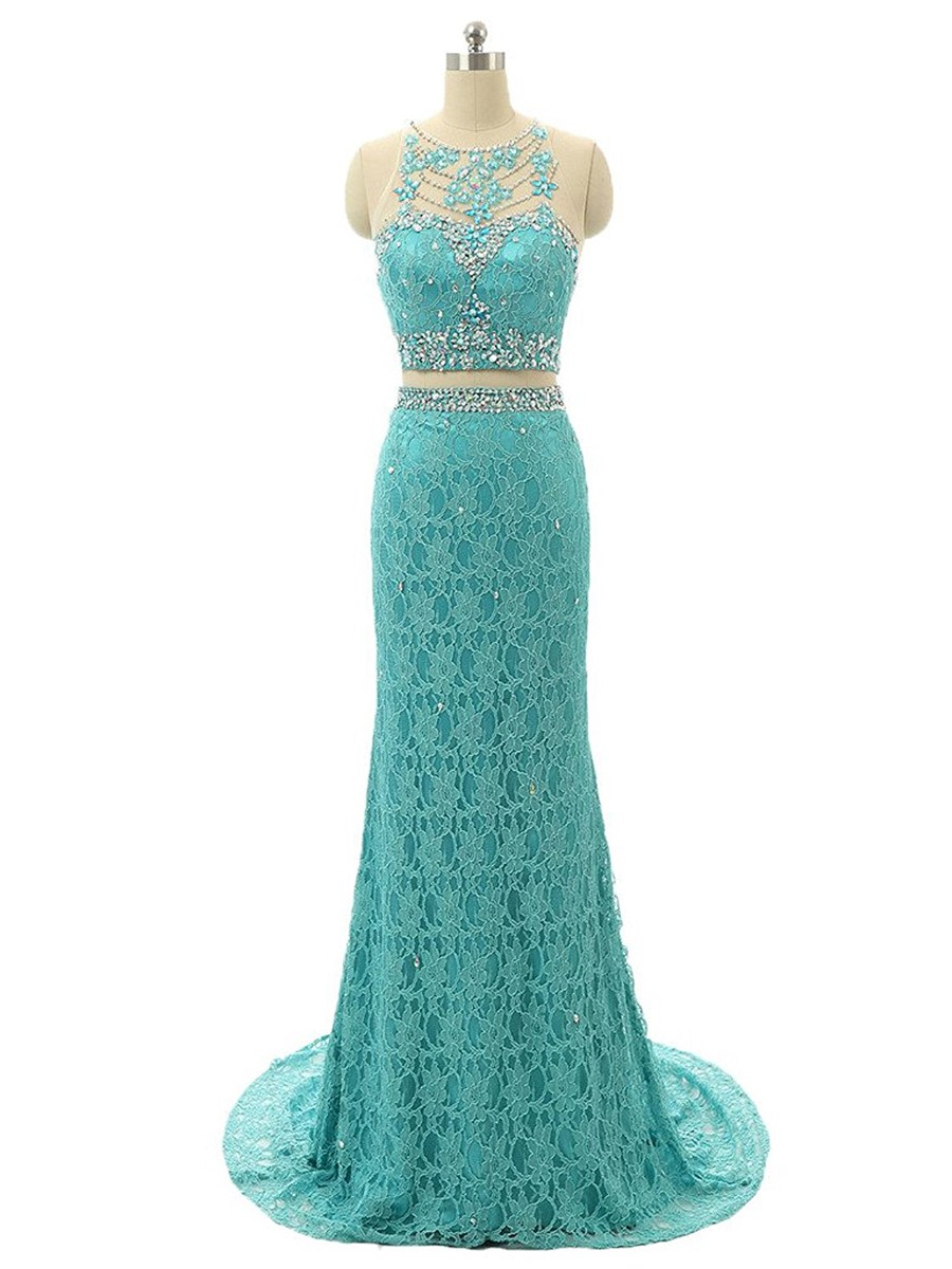 Cheap prom dresses 2017,Ladies Sheath/Column Scoop Neck Lace Tulle Sweep Train Beading Two Piece Prom Dresses