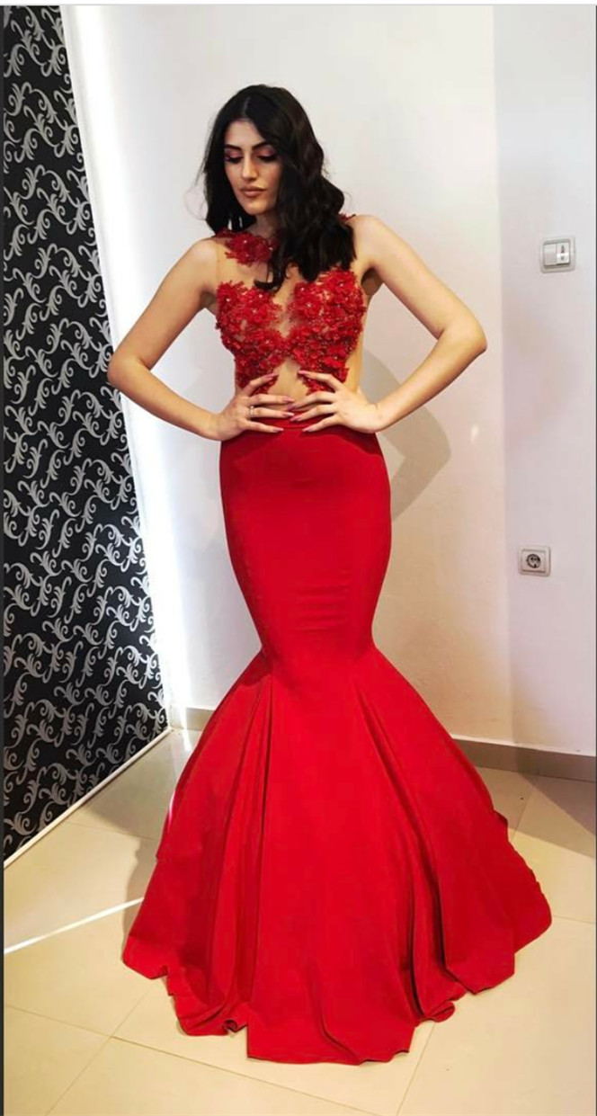 Cheap Prom Dresses 2017long Mermaid Style Illusion Red Prom Dress