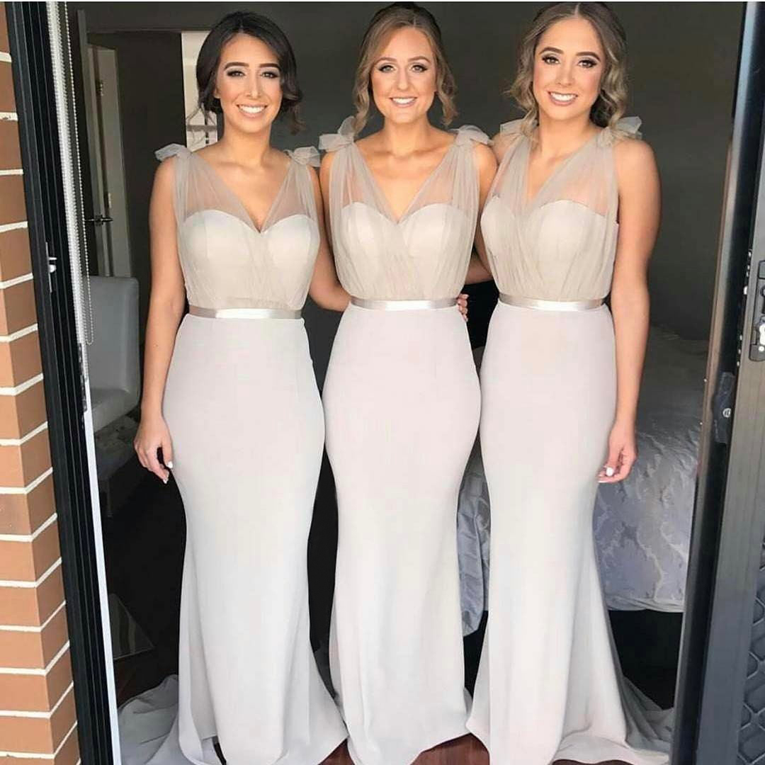 Sheer Straps Mermaid Bridesmaids Dress,Long Party Gown for Weddings