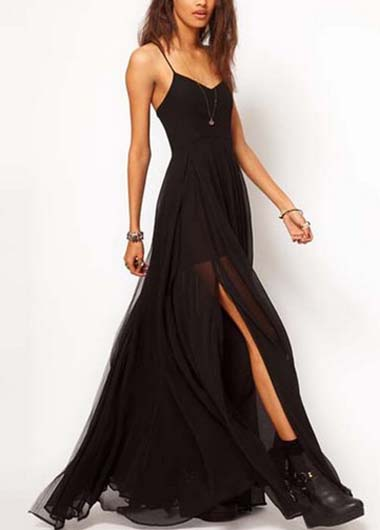 Charming Spaghetti Strap Black Maxi Dress With Slit Design On Luulla