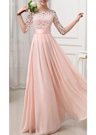 Charming Pierced Sleeve Zipper Closure Maxi Dress - Pink
