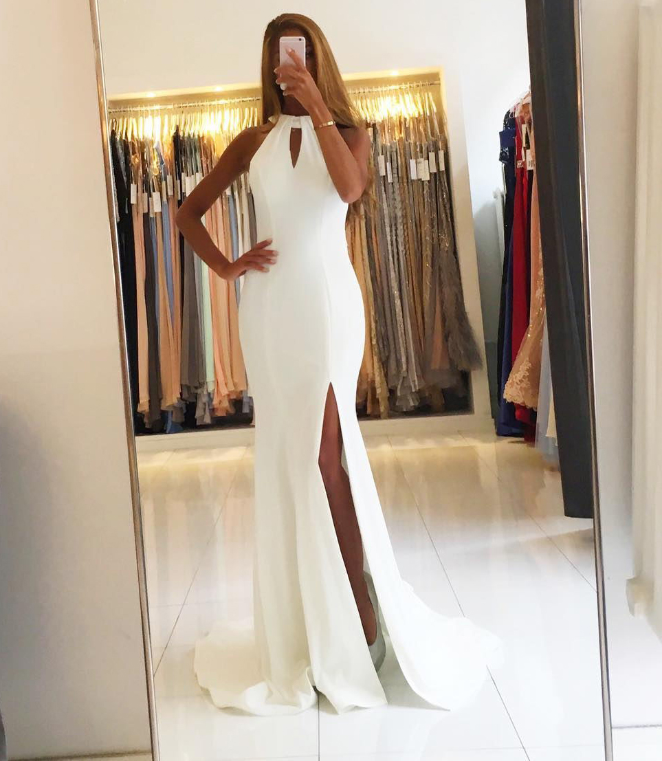 Backless White Chiffon Mermaid Evening Dresses Long Prom Gowns 2018