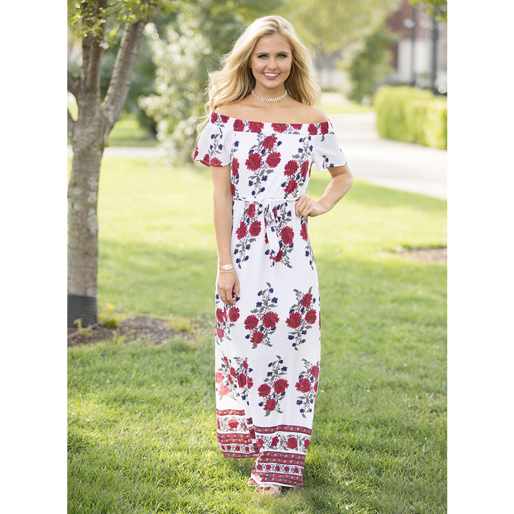 0b217732bbc Floral Print Off-The-Shoulder Maxi Dress Featuring Bow Accent Belt ...