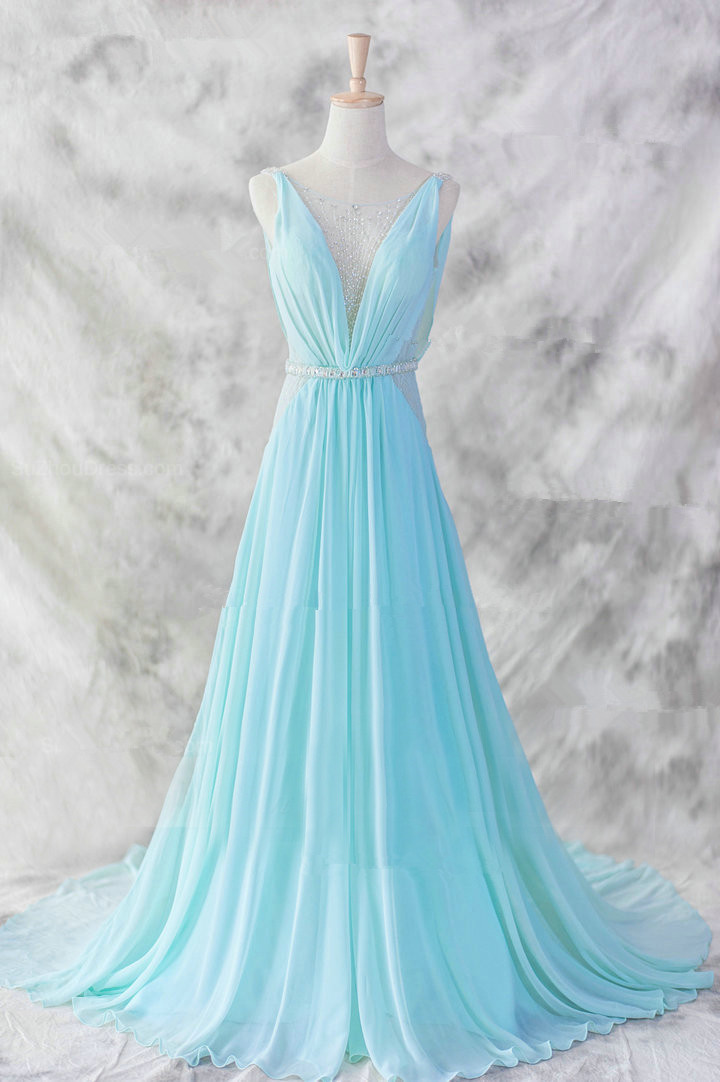 c441a9bd188 Light Blue Sexy See Through Lace Beaded A line Prom Dress Formal Evening  Gowns Wedding Guest