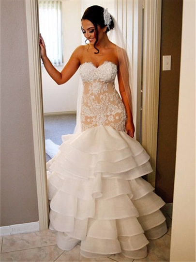 Champagne Sweetheart Appliques Tiered Mermaid Wedding Dress