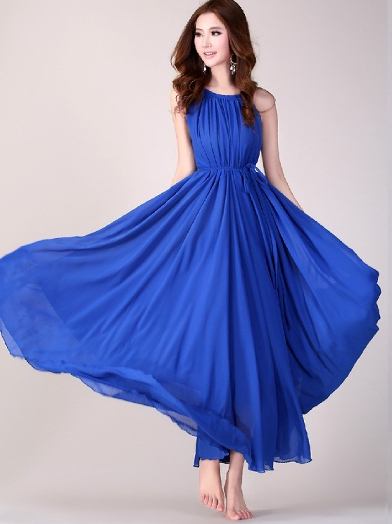 Royal Blue Long Evening Wedding Party Dress Lightweight Sundress Plus Size Summer Holiday