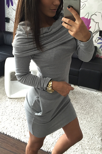 Fashion Long Sleeves Grey Cotton Blend Sheath Mini Hoooded Sweat Dress