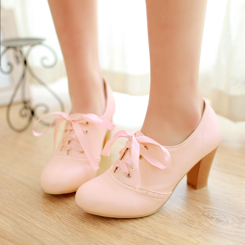 6b81f60bc807 Women s Punk Pointed Toe Lace Up Platform Block High Heels Ankle Boots Shoes  Pink