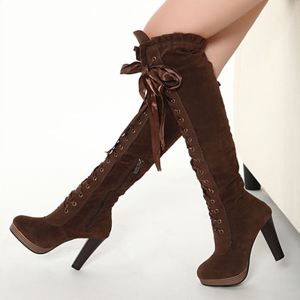 look for 100% quality competitive price Ladies Boots Sexy Boots Cross Straps Knee High Boots Thigh High Boots