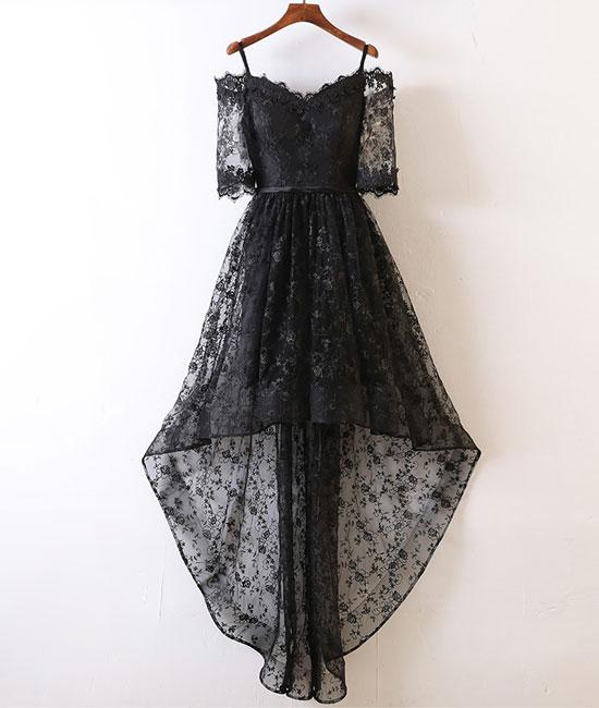 Black Lace High Low Prom Dress Black Lace Evening Dress On Luulla