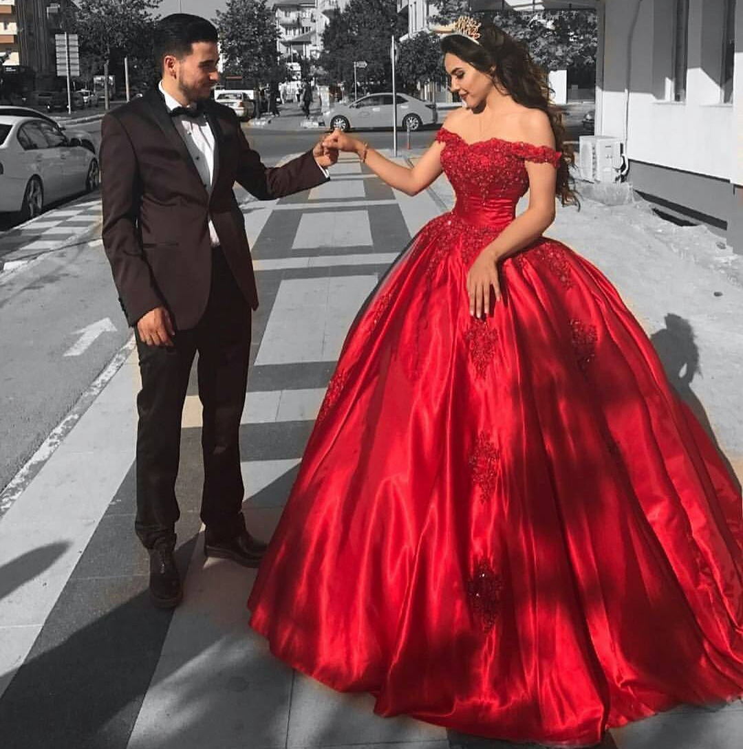 Lace Corset Off Shoulder Red Satin Bridal Engagement Ball Gown ...