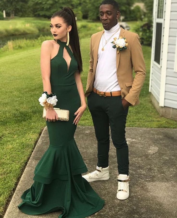 Dark Green Halter Mermaid Prom Dress With Double Tiered Skirt On Luulla