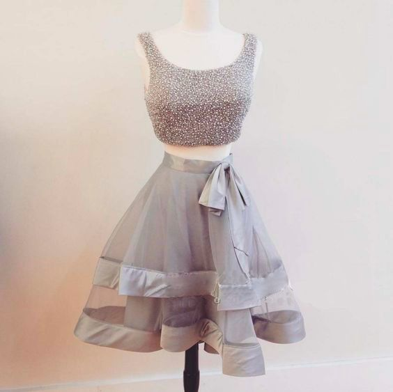69a4ba4b137 Cute Gray 2 Pieces Short Prom Dress