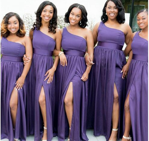 Cheap Chiffon Bridesmaid Dresses Purple One Shoulder High Side Split Backless Pleats Formal Maid of the Hono Dresses