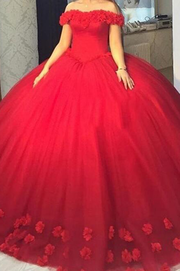 Red Floral Ball Gown Prom Dresses Princess Lace Prom Gowns Sweet 16
