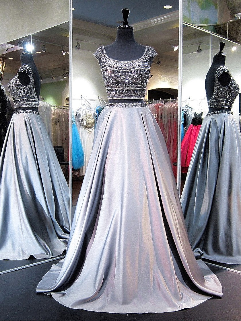 Princess Scoop Neck Satin Sweep Train Beading Two Piece Backless Boutique Prom Dresses,