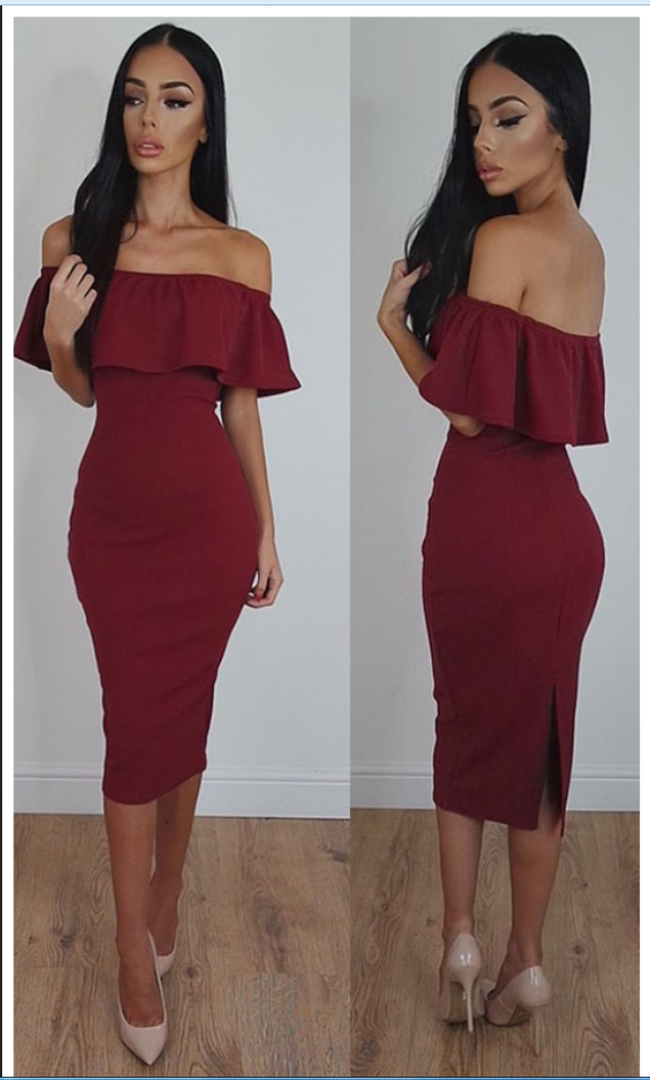 048a682e419 Off-Shoulder Sexy Tea-Length Burgundy Bodycon Prom Dress on Luulla