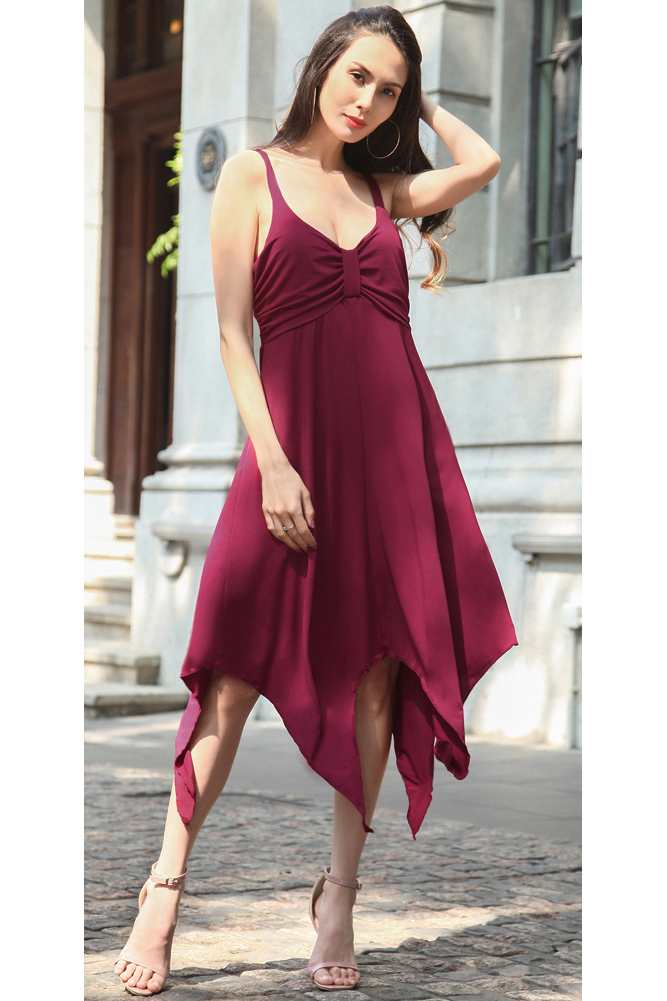 2017 New Fashion Two Straps Asymmetrical Hem V Neck Long Midi Dresses Casual Party Beach Sundress dark red