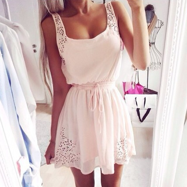 Hollow Out White Dress