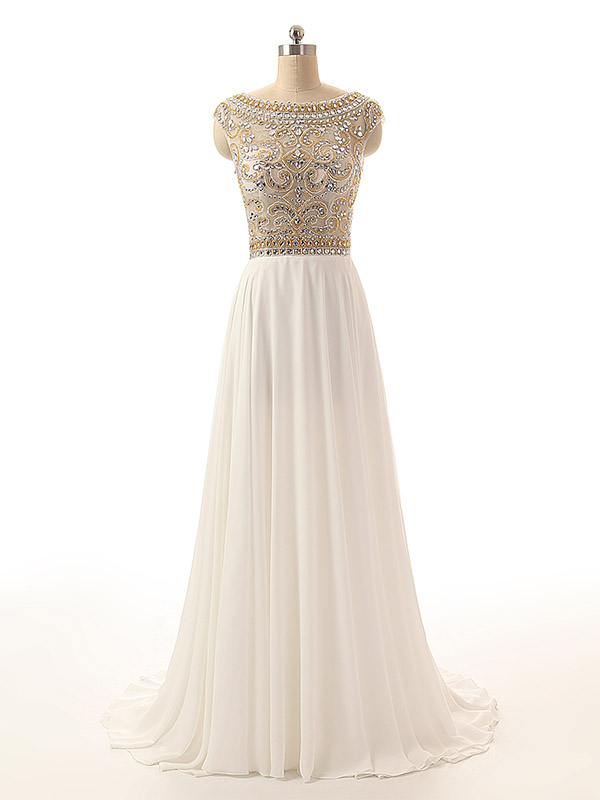Ivory Crystals Prom Dresses Long Chiffon Beaded Party Dress