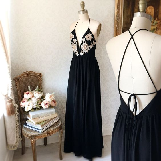Black Plunging V Floral Embroidered Chiffon Floor-Length Prom Dress, Evening Dress, Formal Dress Featuring Crisscross Open Back