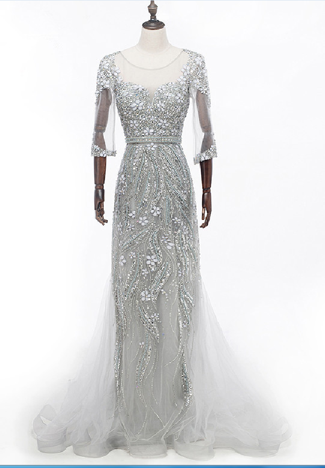 half - sleeve mermaid evening gown with a grey crystal illusion dress evening gown