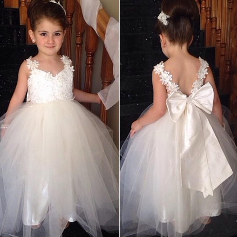 2f32721c3496a Cute tulle v neck open back ankle length sweet cheap flower girl dress with  bowknot