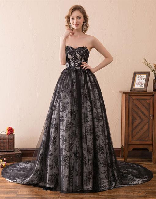 Black tulle lace long prom dress, sweetheart neck evening dress