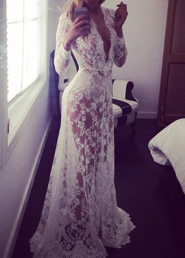 Sexy Lace White Plunging Neckline Long Sleeve Maxi Dress