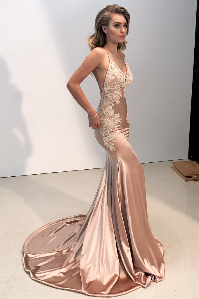 f2374e1c0f2b Sexy V-neck Backless Champagne Prom Dress,Charming Mermaid Evening Gowns