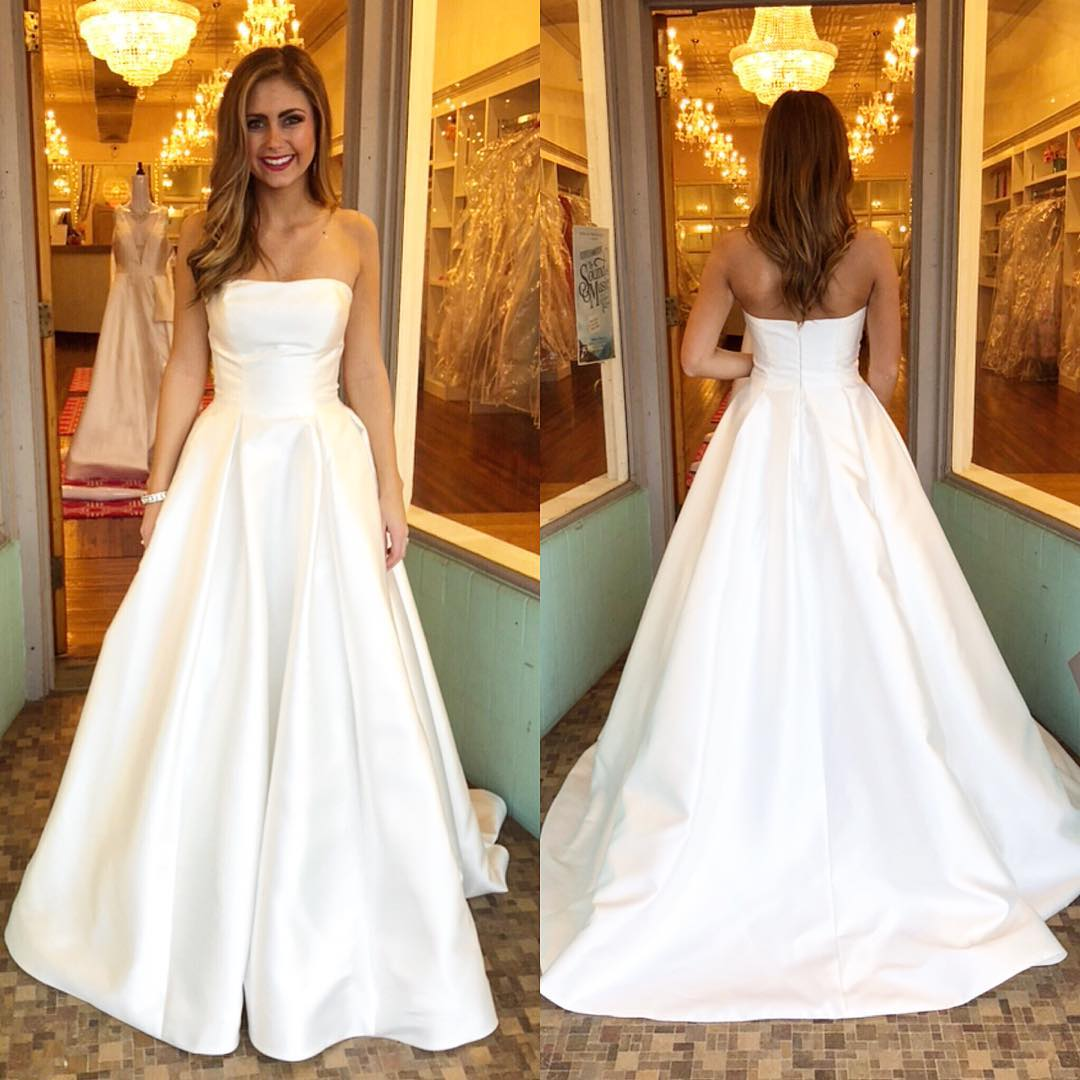 b38fe258c7d Strapless White Satin Long Prom Dress