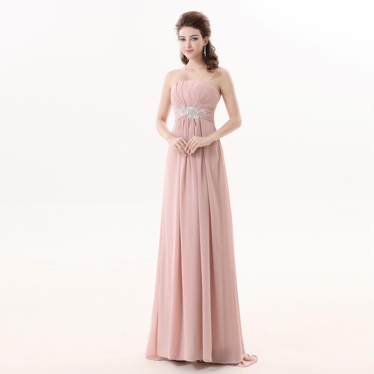 Pink Chiffon Bridesmaid Dress,Floor Length A Line Strapless Bridesmaid Dresses