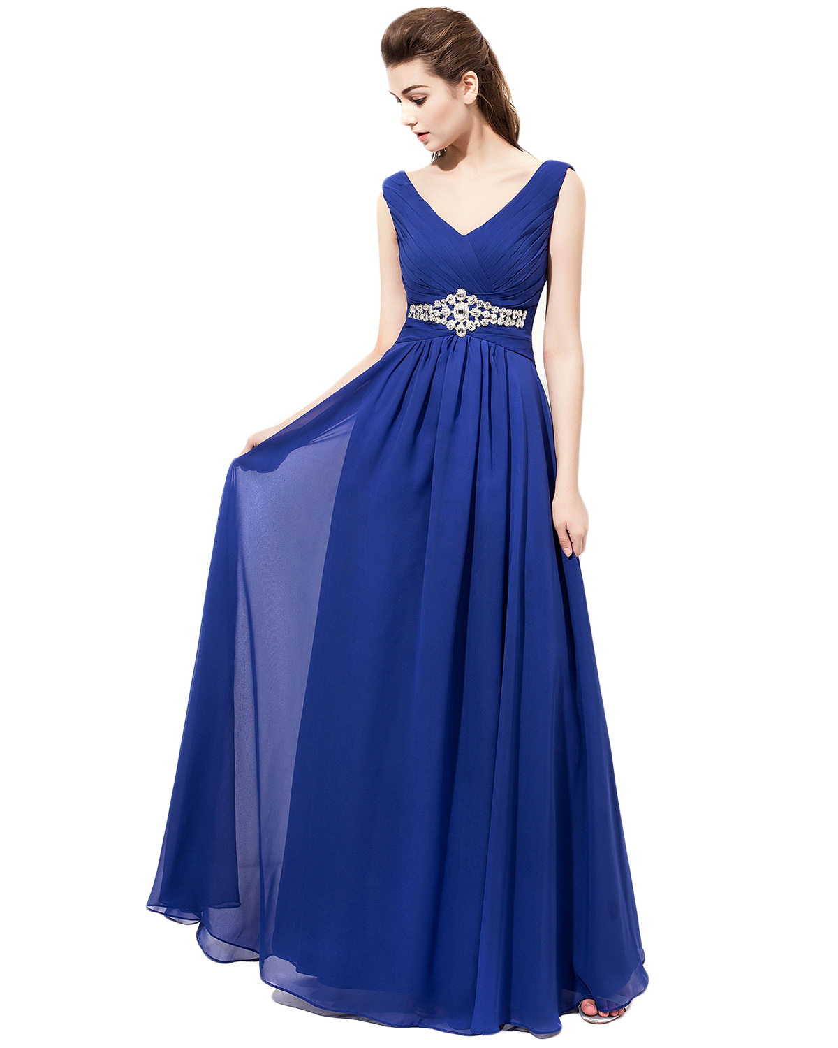 9c40886a78 Brilliant Plunge V Royal Blue Chiffon Bridesmaid Dresses
