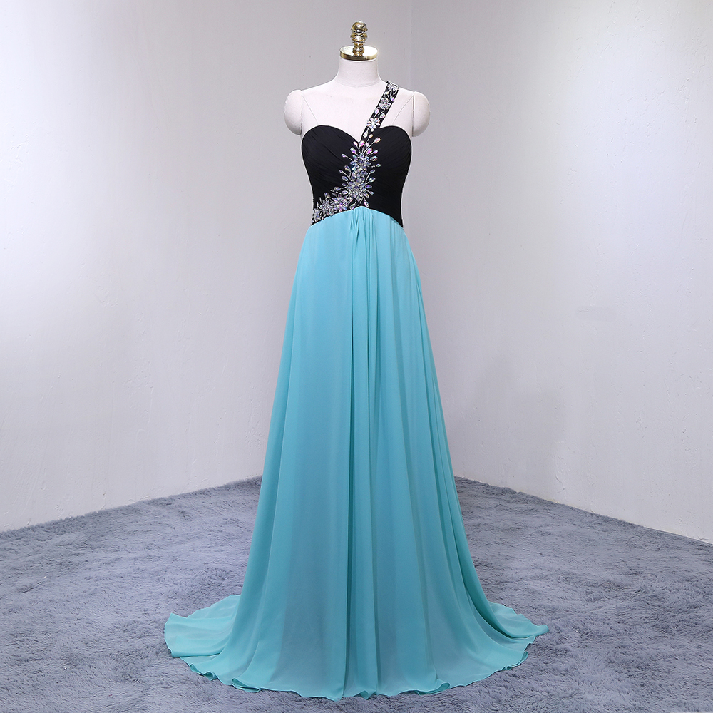 Long Chiffon Prom Dresses Featuring Sweetheart Neckline And One ...