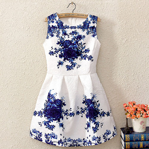 Blue Floral Print Crew Neck Bodycon Tank Dress [Grxjy561178]