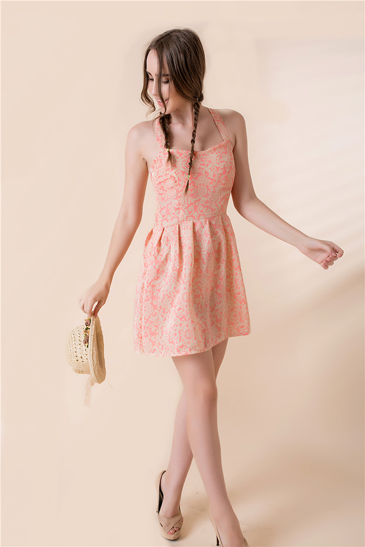 The 2015 summer new dress code explosion and chiffon sling style print dress skirt