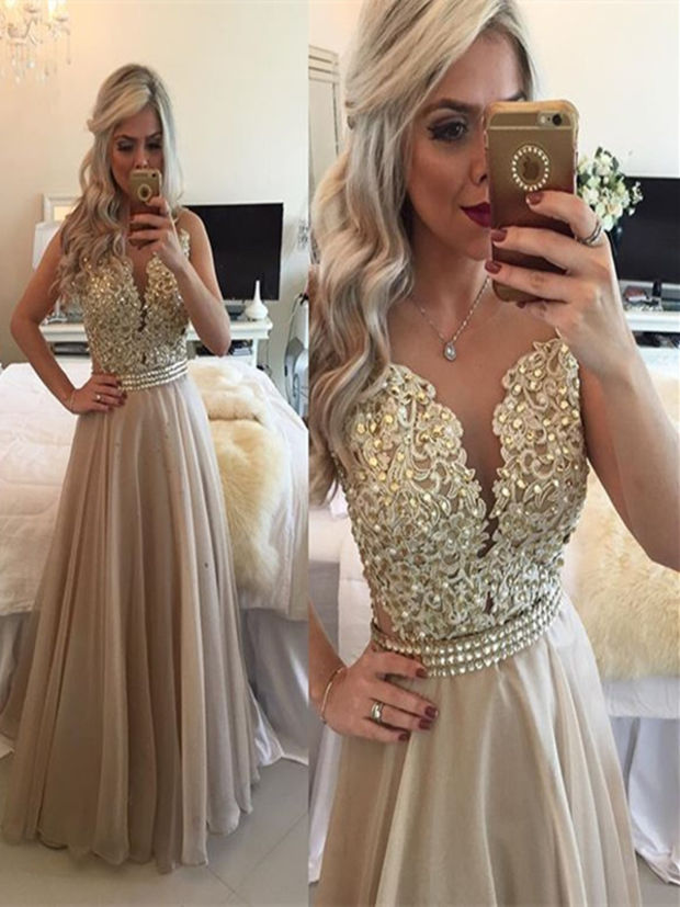 e00214081f0f A Line Round Neck Sleeveless Long Champagne Prom Dress, Champagne Formal  Dress