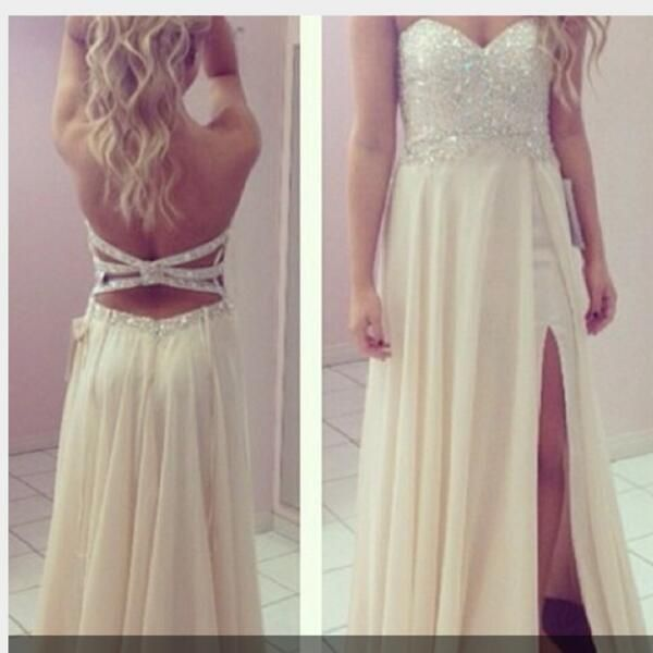 Custom Made Ivory A-Line Strapless Rhinestone Long Prom Dresses, Evening Dresses, Formal Dresses, Dresses For Prom