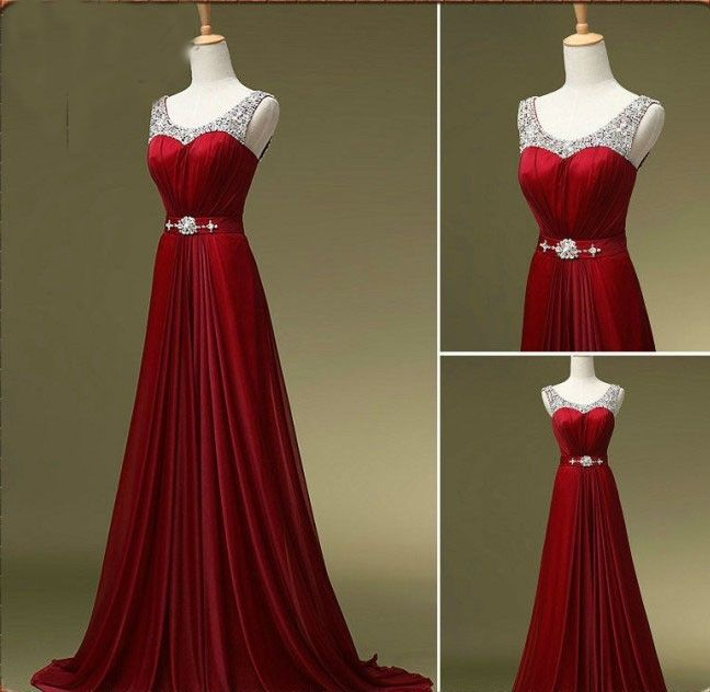 Custom Made A Line Dark Red Round Neck Long Prom Dresses Bridesmaid